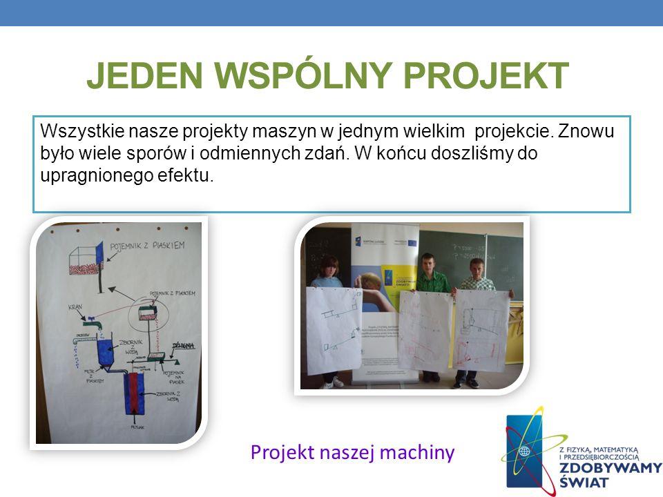JEDEN WSPÓLNY PROJEKT Wszystkie nasze projekty maszyn w jednym wielkim projekcie. Znowu było wiele sporów i odmiennych zdań. W końcu doszliśmy do upra