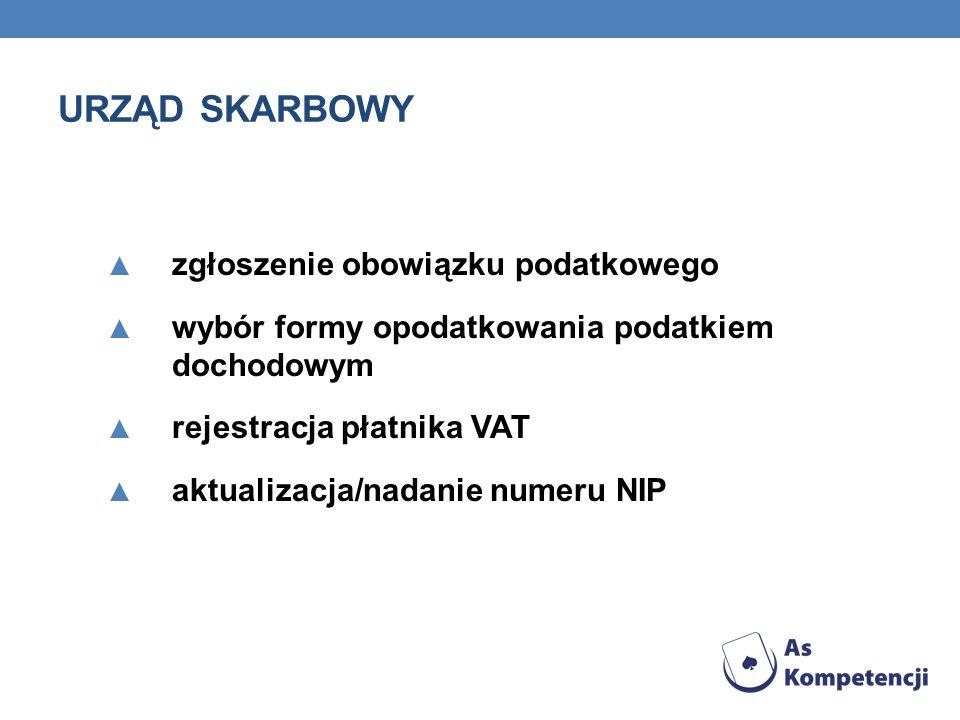 URZĄD SKARBOWY zgłoszenie obowiązku podatkowego wybór formy opodatkowania podatkiem dochodowym rejestracja płatnika VAT aktualizacja/nadanie numeru NIP