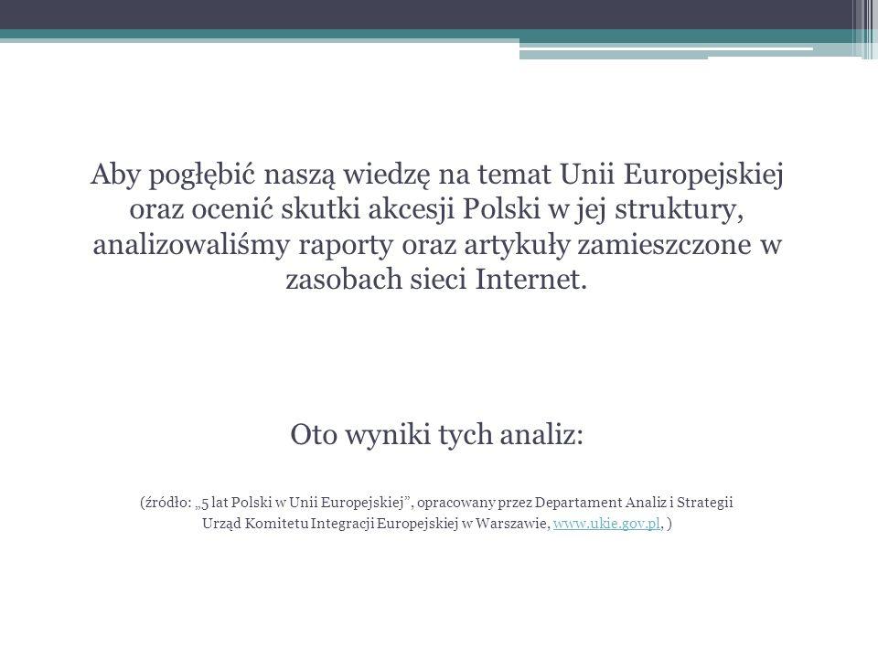 Aby pogłębić naszą wiedzę na temat Unii Europejskiej oraz ocenić skutki akcesji Polski w jej struktury, analizowaliśmy raporty oraz artykuły zamieszczone w zasobach sieci Internet.