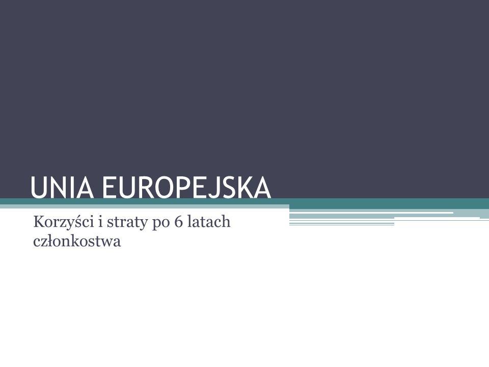 UNIA EUROPEJSKA Korzyści i straty po 6 latach członkostwa