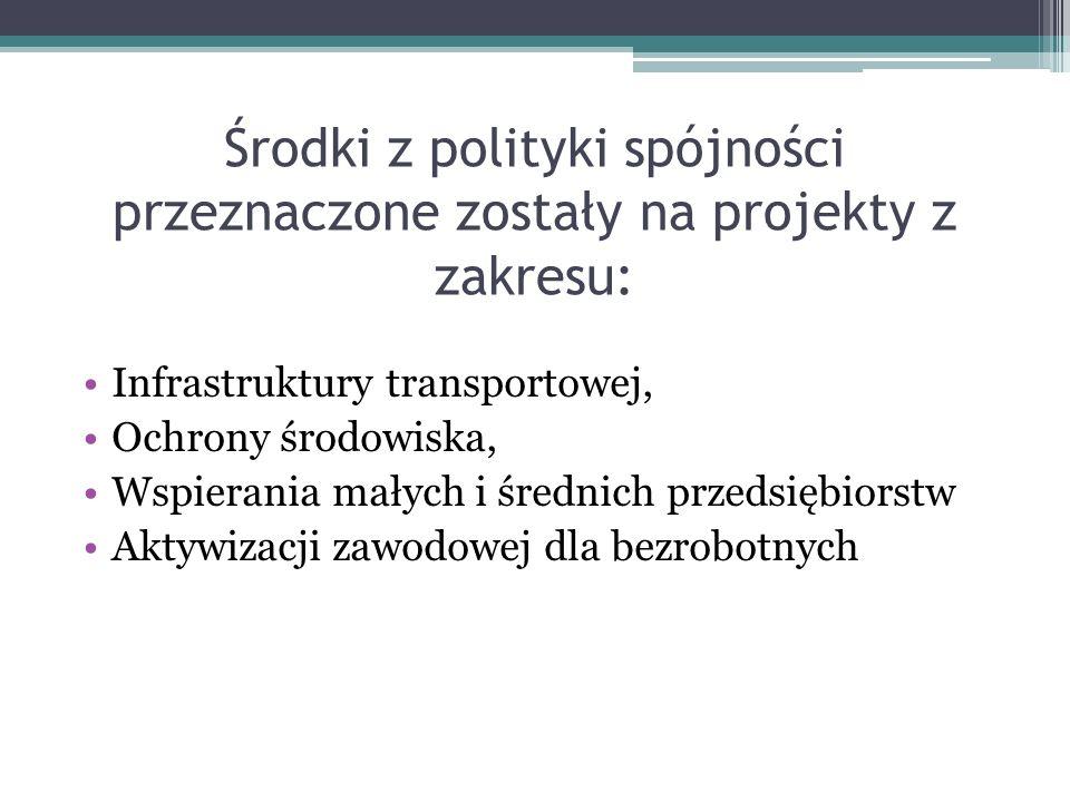 Środki z polityki spójności przeznaczone zostały na projekty z zakresu: Infrastruktury transportowej, Ochrony środowiska, Wspierania małych i średnich przedsiębiorstw Aktywizacji zawodowej dla bezrobotnych