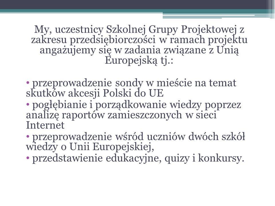 My, uczestnicy Szkolnej Grupy Projektowej z zakresu przedsiębiorczości w ramach projektu angażujemy się w zadania związane z Unią Europejską tj.: przeprowadzenie sondy w mieście na temat skutków akcesji Polski do UE pogłębianie i porządkowanie wiedzy poprzez analizę raportów zamieszczonych w sieci Internet przeprowadzenie wśród uczniów dwóch szkół wiedzy o Unii Europejskiej, przedstawienie edukacyjne, quizy i konkursy.