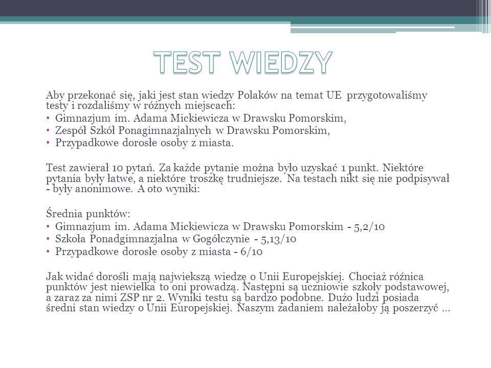 Aby przekonać się, jaki jest stan wiedzy Polaków na temat UE przygotowaliśmy testy i rozdaliśmy w różnych miejscach: Gimnazjum im.
