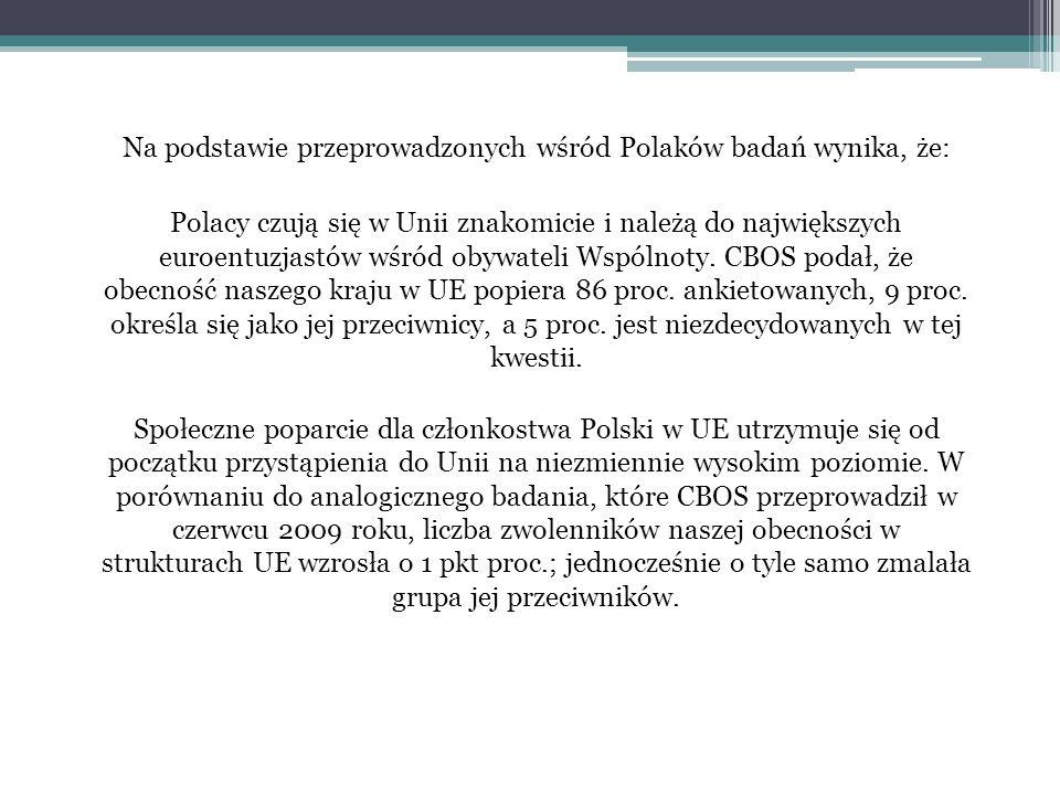 Na podstawie przeprowadzonych wśród Polaków badań wynika, że: Polacy czują się w Unii znakomicie i należą do największych euroentuzjastów wśród obywateli Wspólnoty.
