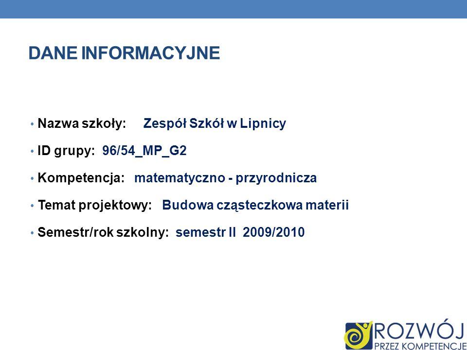 DANE INFORMACYJNE Nazwa szkoły: Zespół Szkół w Lipnicy ID grupy: 96/54_MP_G2 Kompetencja: matematyczno - przyrodnicza Temat projektowy: Budowa cząstec