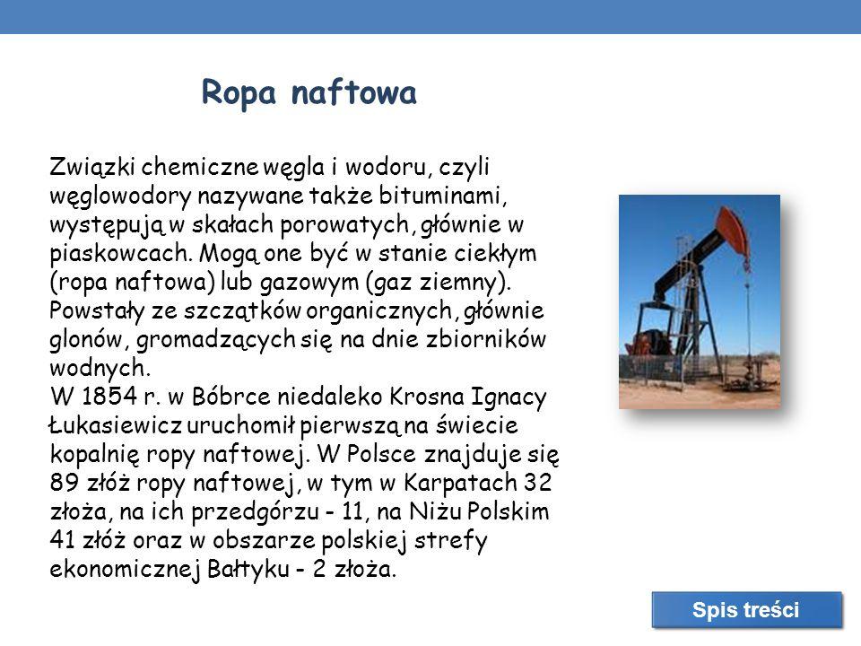 Ropa naftowa Związki chemiczne węgla i wodoru, czyli węglowodory nazywane także bituminami, występują w skałach porowatych, głównie w piaskowcach. Mog