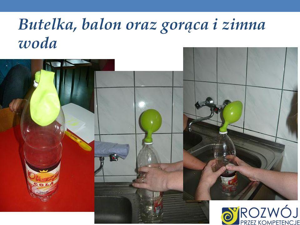 Butelka, balon oraz gorąca i zimna woda