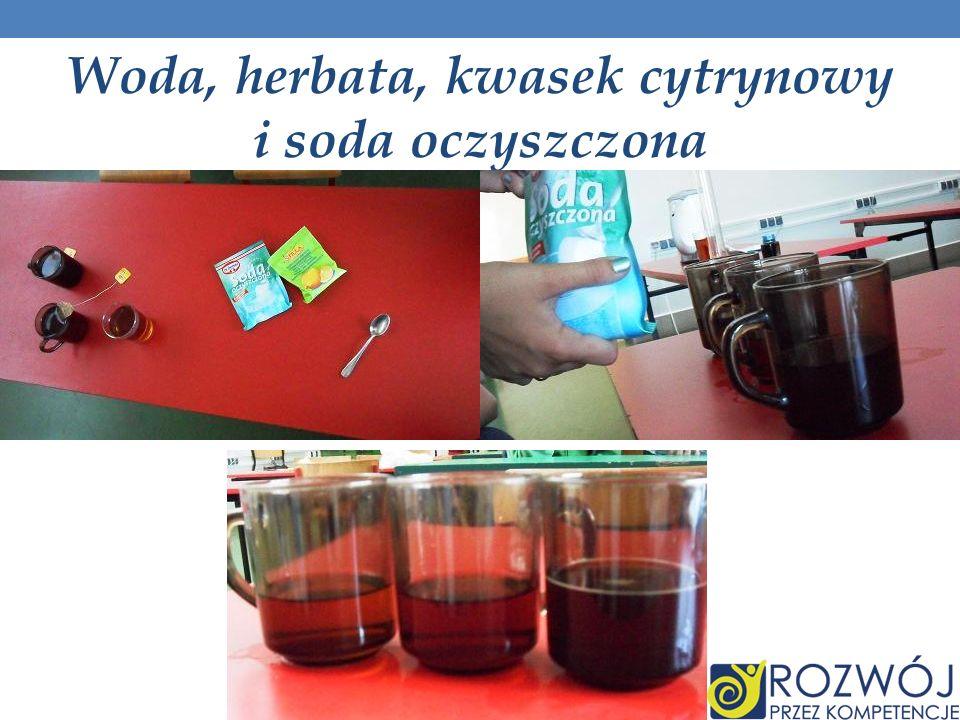 Woda, herbata, kwasek cytrynowy i soda oczyszczona