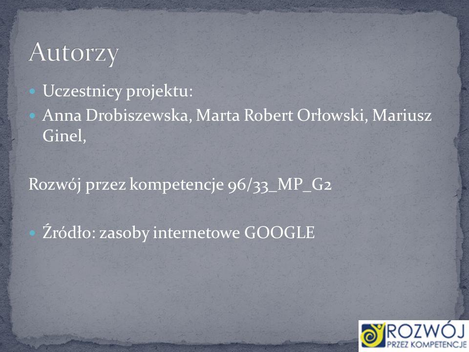 Uczestnicy projektu: Anna Drobiszewska, Marta Robert Orłowski, Mariusz Ginel, Rozwój przez kompetencje 96/33_MP_G2 Źródło: zasoby internetowe GOOGLE