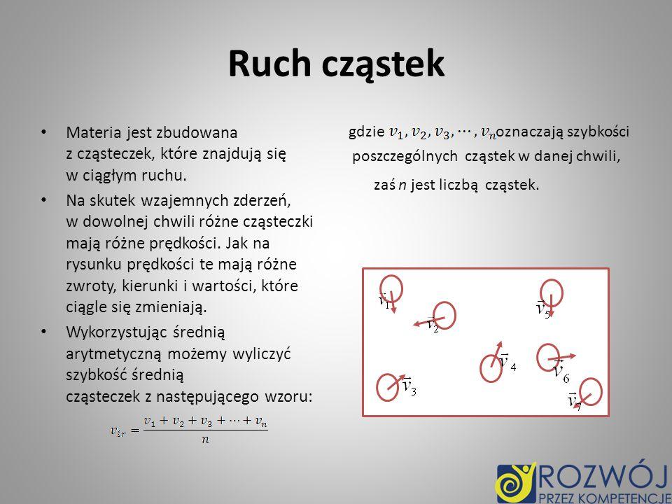 Ruch cząstek Materia jest zbudowana z cząsteczek, które znajdują się w ciągłym ruchu. Na skutek wzajemnych zderzeń, w dowolnej chwili różne cząsteczki