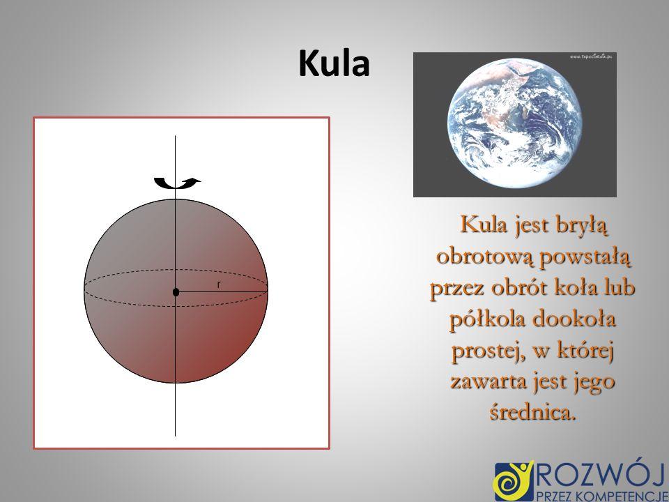 Kula Kula jest bryłą obrotową powstałą przez obrót koła lub półkola dookoła prostej, w której zawarta jest jego średnica. Kula jest bryłą obrotową pow