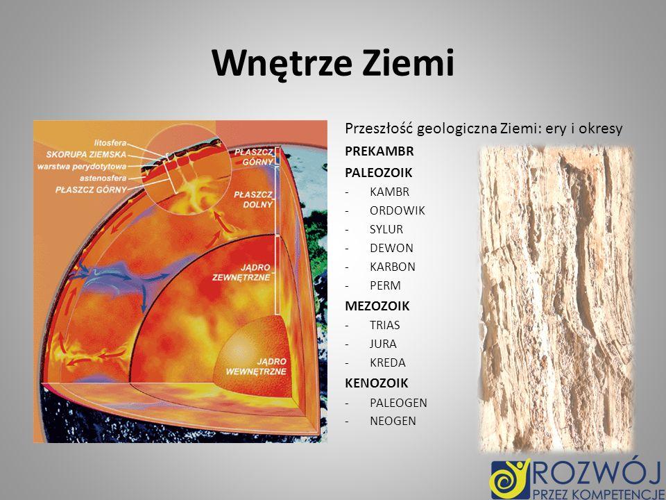Wnętrze Ziemi Przeszłość geologiczna Ziemi: ery i okresy PREKAMBR PALEOZOIK -KAMBR -ORDOWIK -SYLUR -DEWON -KARBON -PERM MEZOZOIK -TRIAS -JURA -KREDA KENOZOIK -PALEOGEN -NEOGEN