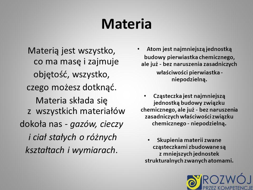 Materia Materią jest wszystko, co ma masę i zajmuje objętość, wszystko, czego możesz dotknąć. Materia składa się z wszystkich materiałów dokoła nas -