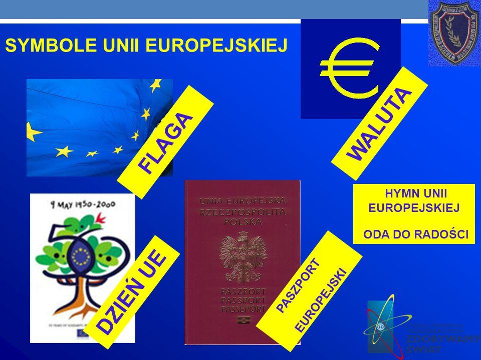 SYMBOLE UNII EUROPEJSKIEJ FLAGA WALUTA PASZPORT EUROPEJSKI HYMN UNII EUROPEJSKIEJ ODA DO RADOŚCI DZIEŃ UE