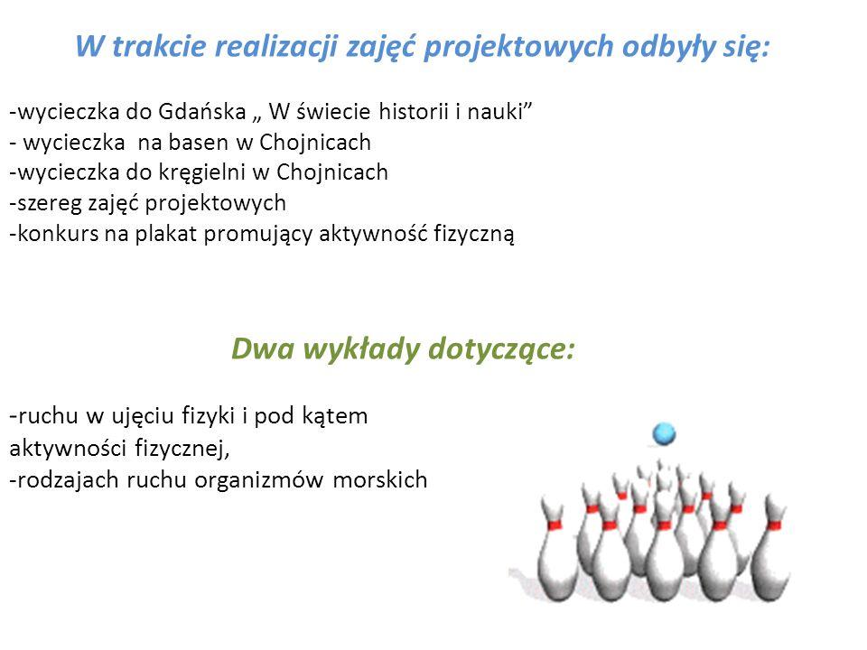 W trakcie realizacji zajęć projektowych odbyły się: -wycieczka do Gdańska W świecie historii i nauki - wycieczka na basen w Chojnicach -wycieczka do k
