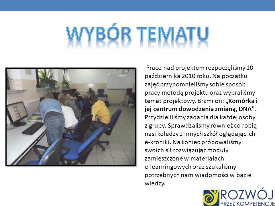 Prace nad projektem rozpoczęliśmy 10 października 2010 roku. Na początku zajęć przypomnieliśmy sobie sposób pracy metodą projektu oraz wybraliśmy tema