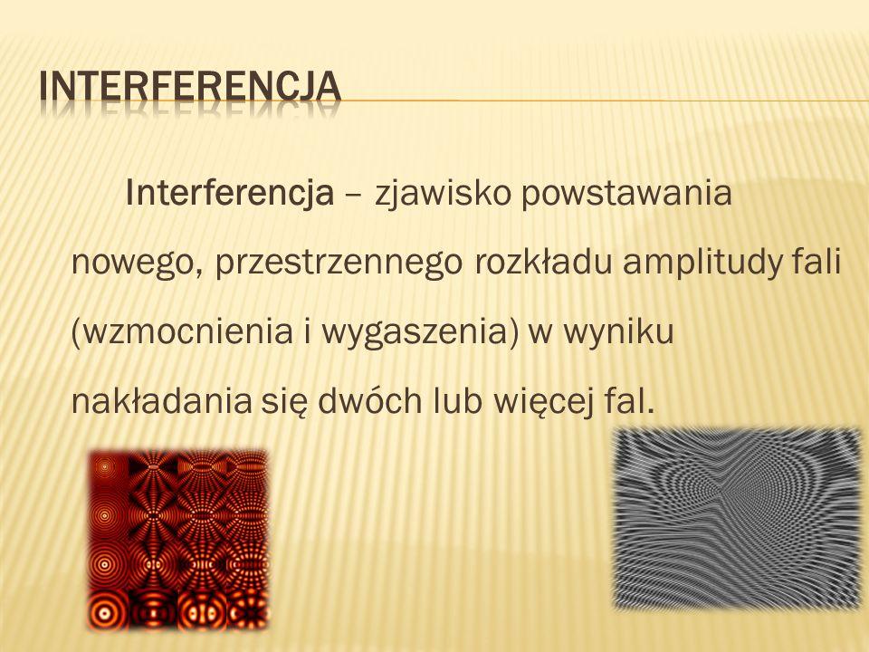 Interferencja – zjawisko powstawania nowego, przestrzennego rozkładu amplitudy fali (wzmocnienia i wygaszenia) w wyniku nakładania się dwóch lub więce