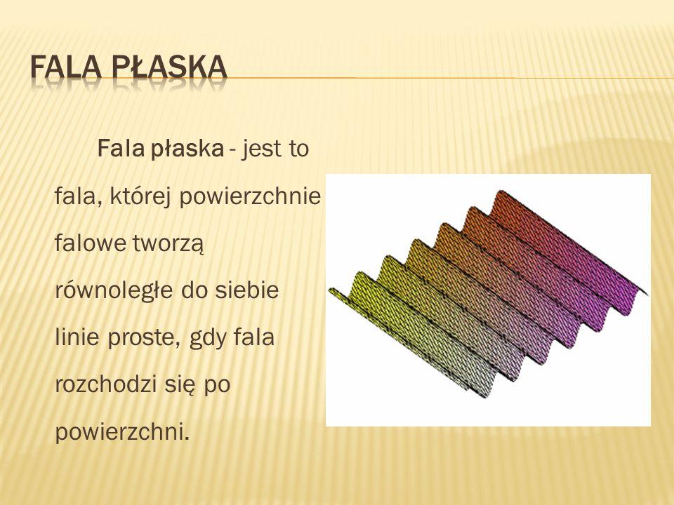 Fala płaska - jest to fala, której powierzchnie falowe tworzą równoległe do siebie linie proste, gdy fala rozchodzi się po powierzchni.