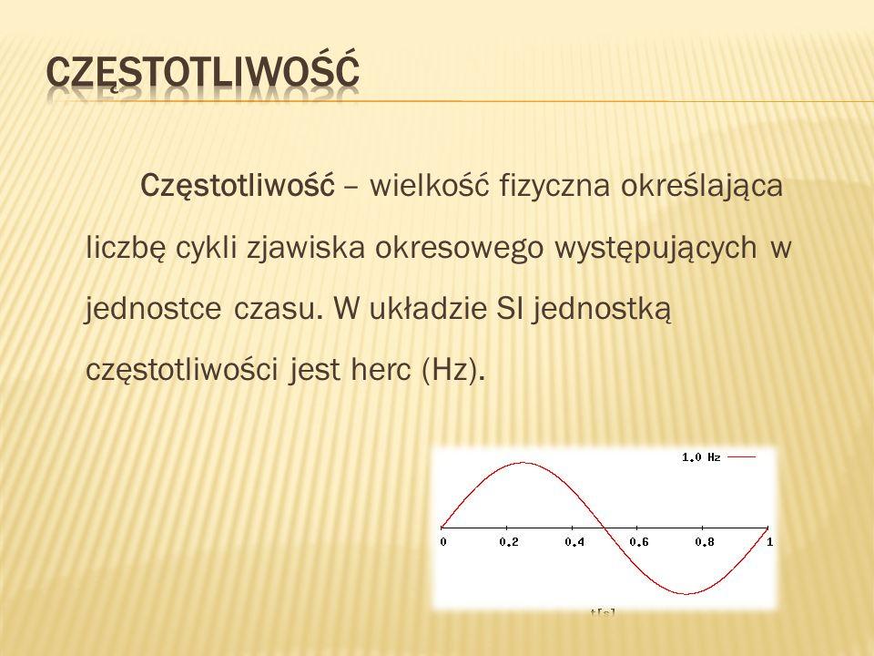 Częstotliwość – wielkość fizyczna określająca liczbę cykli zjawiska okresowego występujących w jednostce czasu. W układzie SI jednostką częstotliwości