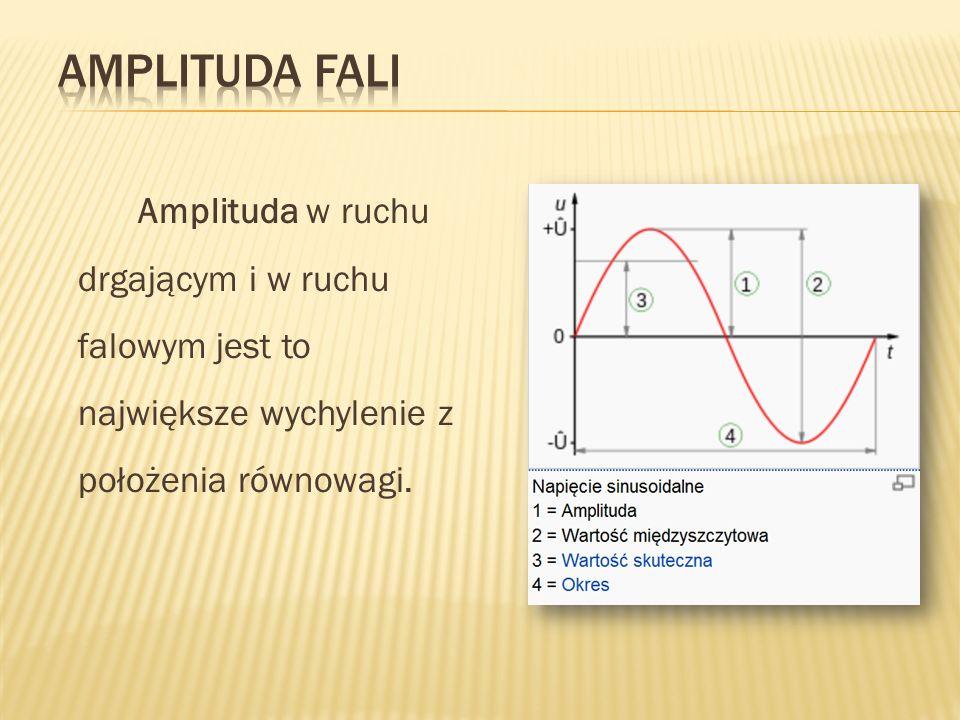 Amplituda w ruchu drgającym i w ruchu falowym jest to największe wychylenie z położenia równowagi.