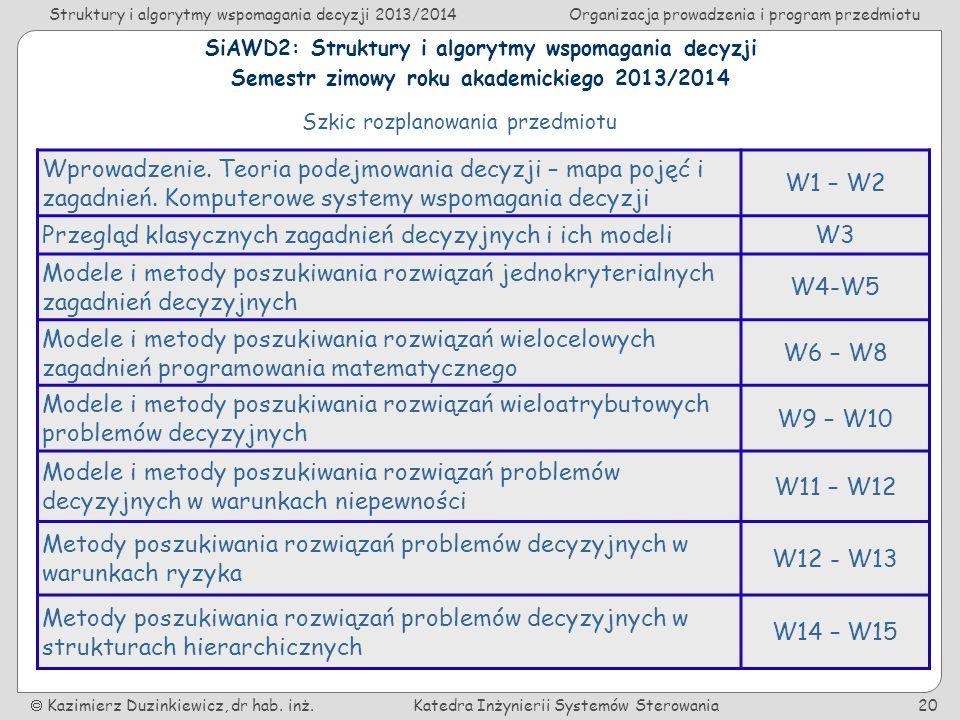 Struktury i algorytmy wspomagania decyzji 2013/2014Organizacja prowadzenia i program przedmiotu Kazimierz Duzinkiewicz, dr hab.