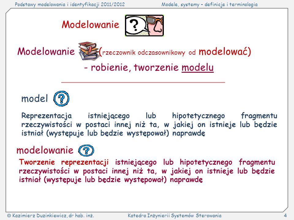 Podstawy modelowania i identyfikacji 2011/2012Modele, systemy – definicje i terminologia Kazimierz Duzinkiewicz, dr hab.