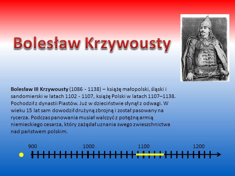 800 900 1000 1100 Bolesław Chrobry (967 – 1025) - pierwszy koronowany król Polski (od 1025 roku) z dynastii Piastów. Choć rządził młodym państwem pols
