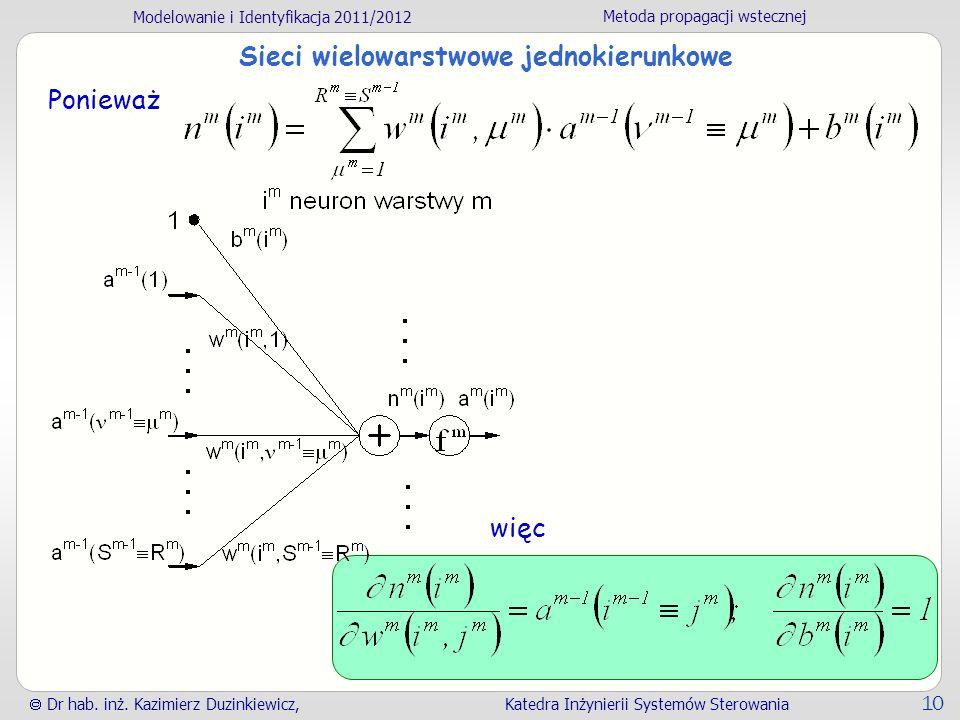 Modelowanie i Identyfikacja 2011/2012 Metoda propagacji wstecznej Dr hab. inż. Kazimierz Duzinkiewicz, Katedra Inżynierii Systemów Sterowania 10 Sieci