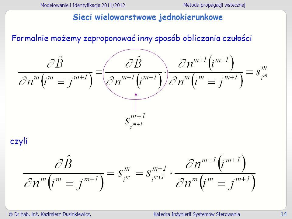 Modelowanie i Identyfikacja 2011/2012 Metoda propagacji wstecznej Dr hab. inż. Kazimierz Duzinkiewicz, Katedra Inżynierii Systemów Sterowania 14 Sieci