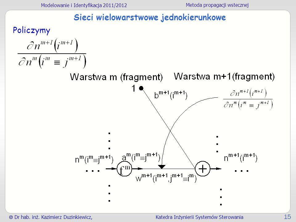 Modelowanie i Identyfikacja 2011/2012 Metoda propagacji wstecznej Dr hab. inż. Kazimierz Duzinkiewicz, Katedra Inżynierii Systemów Sterowania 15 Sieci