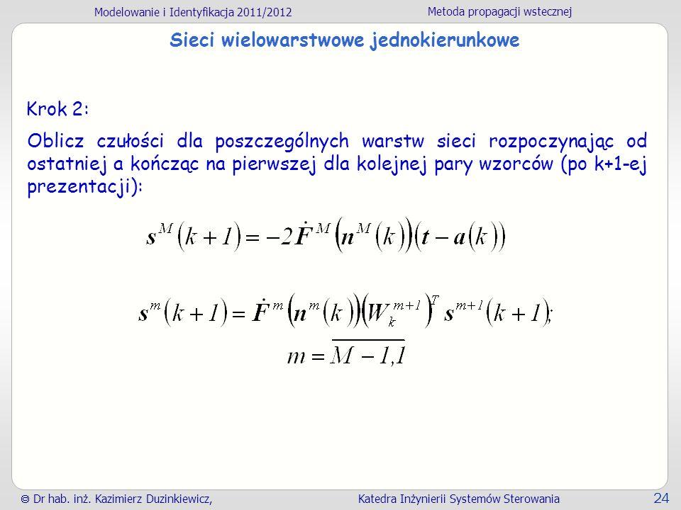 Modelowanie i Identyfikacja 2011/2012 Metoda propagacji wstecznej Dr hab. inż. Kazimierz Duzinkiewicz, Katedra Inżynierii Systemów Sterowania 24 Sieci