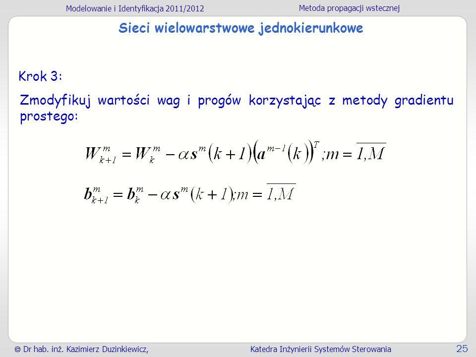 Modelowanie i Identyfikacja 2011/2012 Metoda propagacji wstecznej Dr hab. inż. Kazimierz Duzinkiewicz, Katedra Inżynierii Systemów Sterowania 25 Sieci