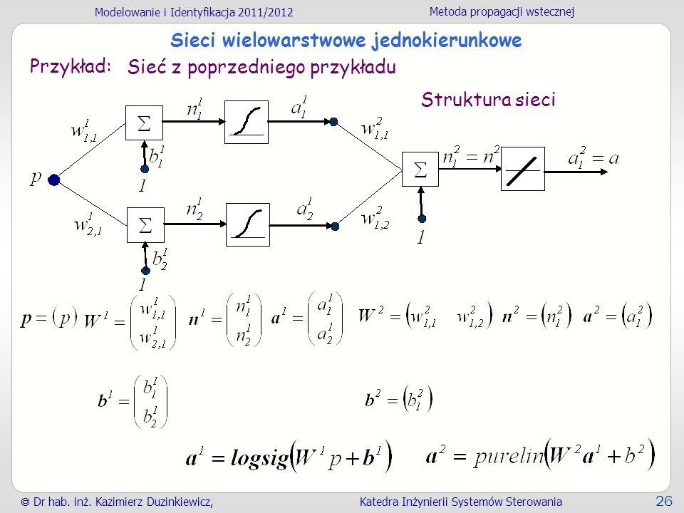 Modelowanie i Identyfikacja 2011/2012 Metoda propagacji wstecznej Dr hab. inż. Kazimierz Duzinkiewicz, Katedra Inżynierii Systemów Sterowania 26 Sieci