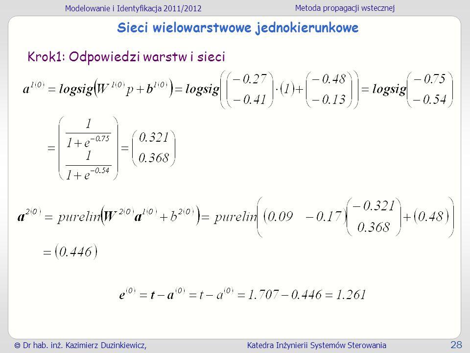 Modelowanie i Identyfikacja 2011/2012 Metoda propagacji wstecznej Dr hab. inż. Kazimierz Duzinkiewicz, Katedra Inżynierii Systemów Sterowania 28 Sieci