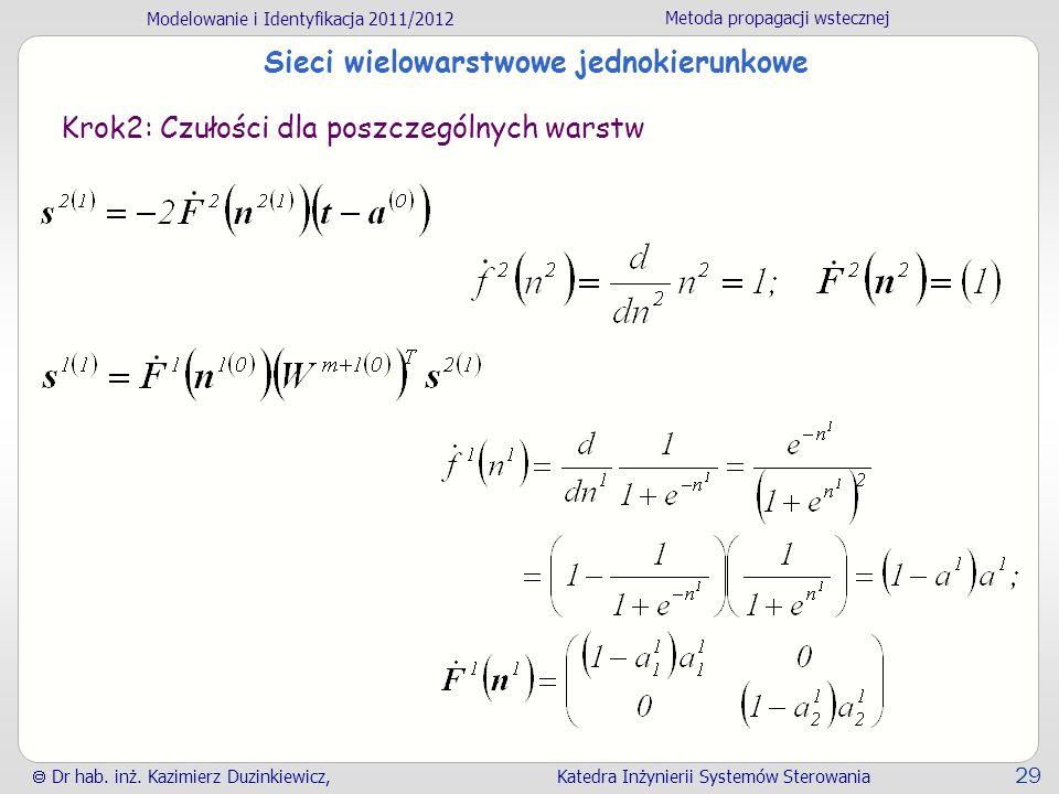 Modelowanie i Identyfikacja 2011/2012 Metoda propagacji wstecznej Dr hab. inż. Kazimierz Duzinkiewicz, Katedra Inżynierii Systemów Sterowania 29 Sieci