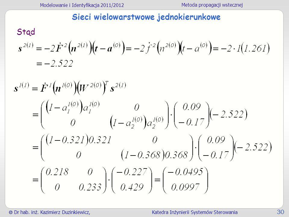 Modelowanie i Identyfikacja 2011/2012 Metoda propagacji wstecznej Dr hab. inż. Kazimierz Duzinkiewicz, Katedra Inżynierii Systemów Sterowania 30 Sieci