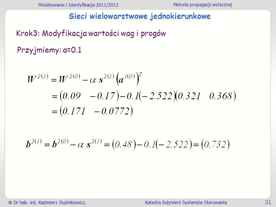 Modelowanie i Identyfikacja 2011/2012 Metoda propagacji wstecznej Dr hab. inż. Kazimierz Duzinkiewicz, Katedra Inżynierii Systemów Sterowania 31 Sieci