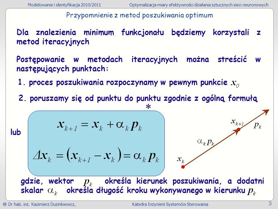 Modelowanie i identyfikacja 2010/2011Optymalizacja miary efektywności działania sztucznych sieci neuronowych Dr hab.