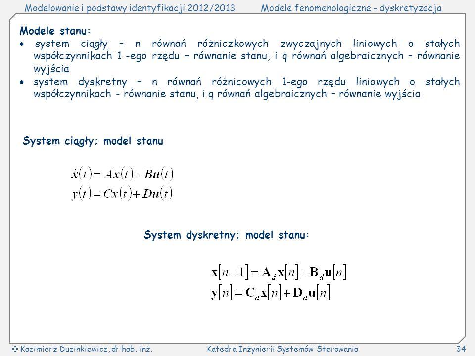 Modelowanie i podstawy identyfikacji 2012/2013Modele fenomenologiczne - dyskretyzacja Kazimierz Duzinkiewicz, dr hab.
