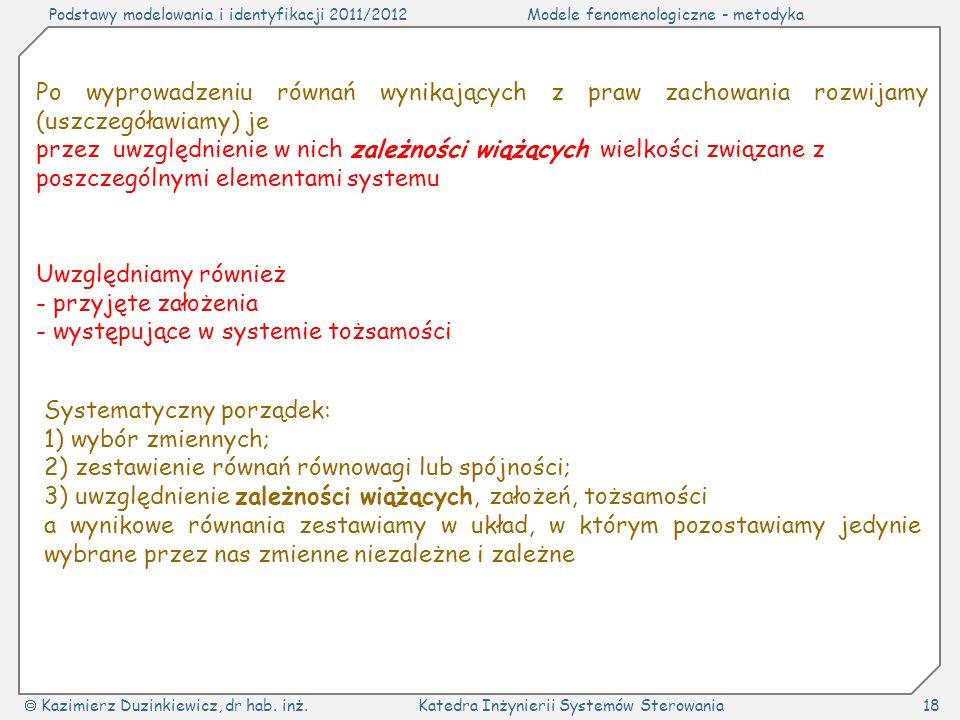 Podstawy modelowania i identyfikacji 2011/2012Modele fenomenologiczne - metodyka Kazimierz Duzinkiewicz, dr hab.