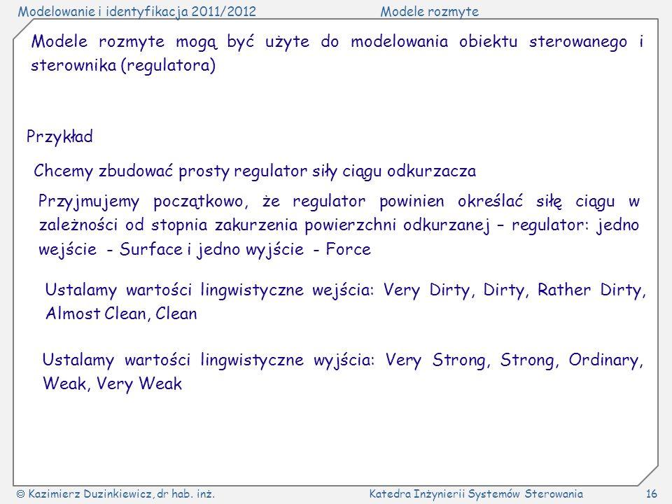 Modelowanie i identyfikacja 2011/2012Modele rozmyte Kazimierz Duzinkiewicz, dr hab. inż.Katedra Inżynierii Systemów Sterowania16 Modele rozmyte mogą b