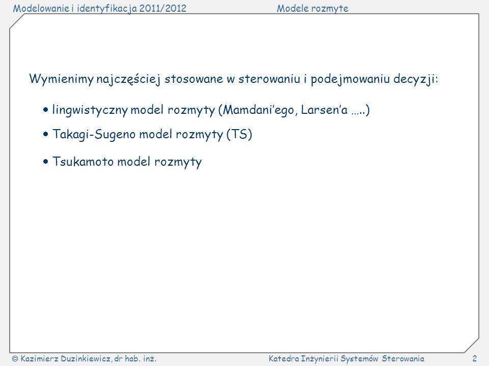 Modelowanie i identyfikacja 2011/2012Modele rozmyte Kazimierz Duzinkiewicz, dr hab. inż.Katedra Inżynierii Systemów Sterowania2 Wymienimy najczęściej