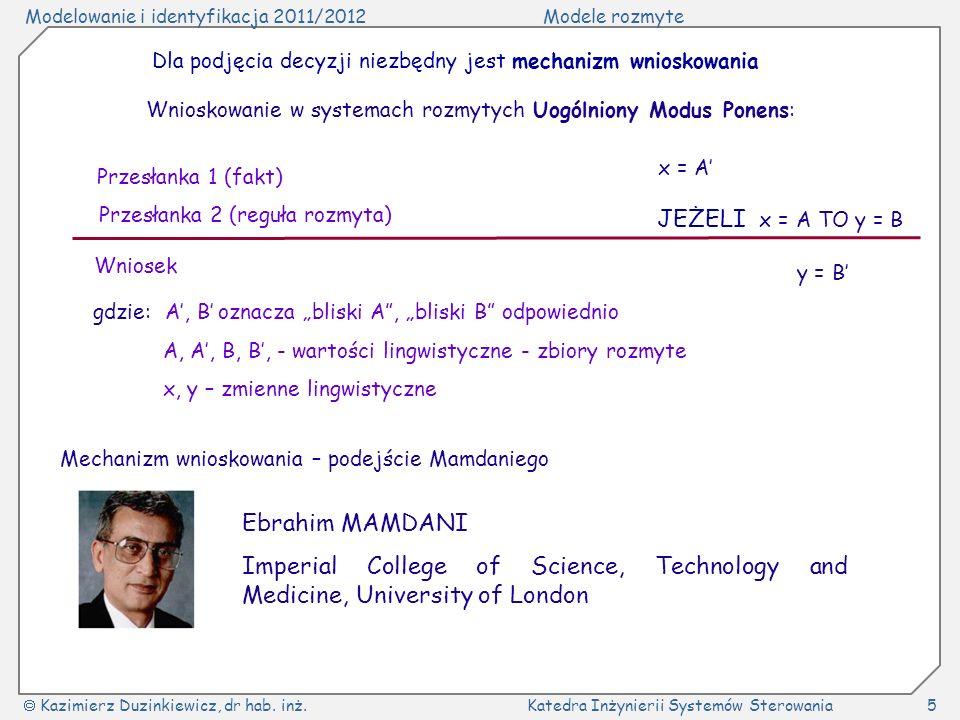 Modelowanie i identyfikacja 2011/2012Modele rozmyte Kazimierz Duzinkiewicz, dr hab. inż.Katedra Inżynierii Systemów Sterowania5 Mechanizm wnioskowania