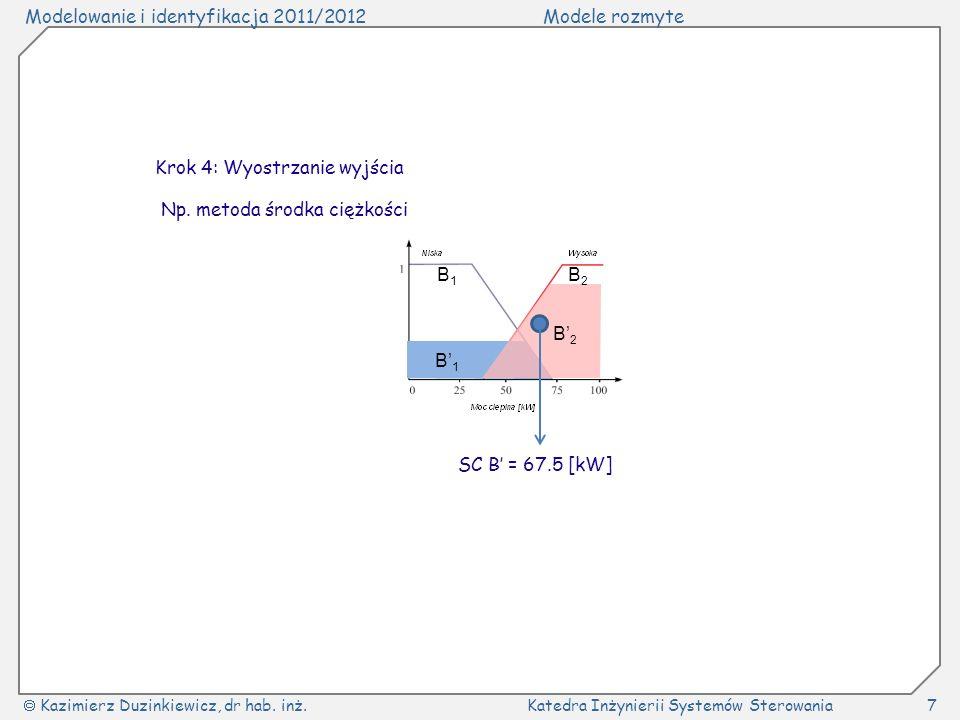 Modelowanie i identyfikacja 2011/2012Modele rozmyte Kazimierz Duzinkiewicz, dr hab. inż.Katedra Inżynierii Systemów Sterowania7 B1B1 B2B2 B1B1 B2B2 Kr