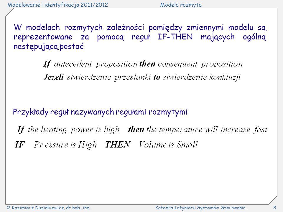 Modelowanie i identyfikacja 2011/2012Modele rozmyte Kazimierz Duzinkiewicz, dr hab. inż.Katedra Inżynierii Systemów Sterowania8 W modelach rozmytych z