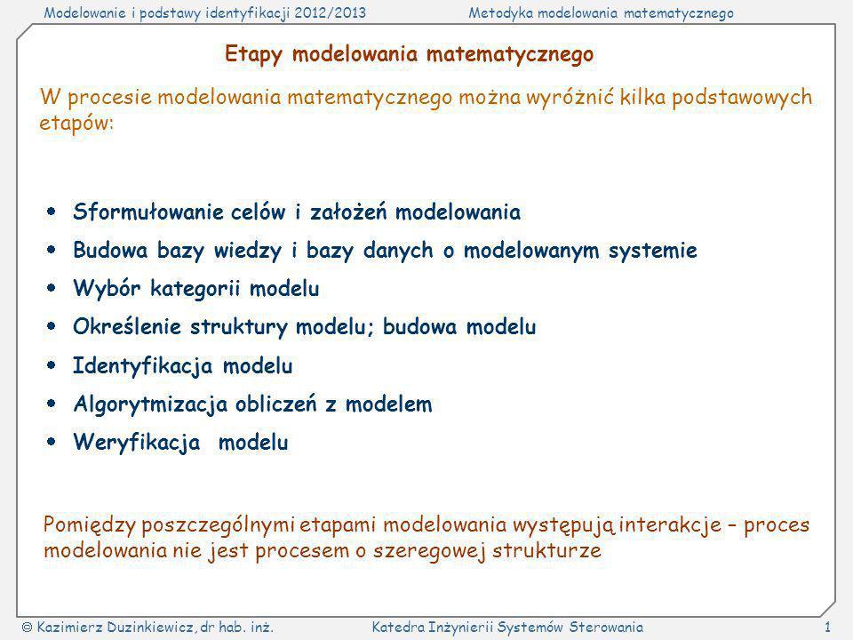 Modelowanie i podstawy identyfikacji 2012/2013Metodyka modelowania matematycznego Kazimierz Duzinkiewicz, dr hab. inż.Katedra Inżynierii Systemów Ster