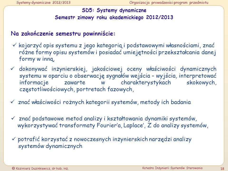 Systemy dynamiczne 2012/2013Organizacja prowadzenia i program przedmiotu Kazimierz Duzinkiewicz, dr hab. inż. Katedra Inżynierii Systemów Sterowania 1