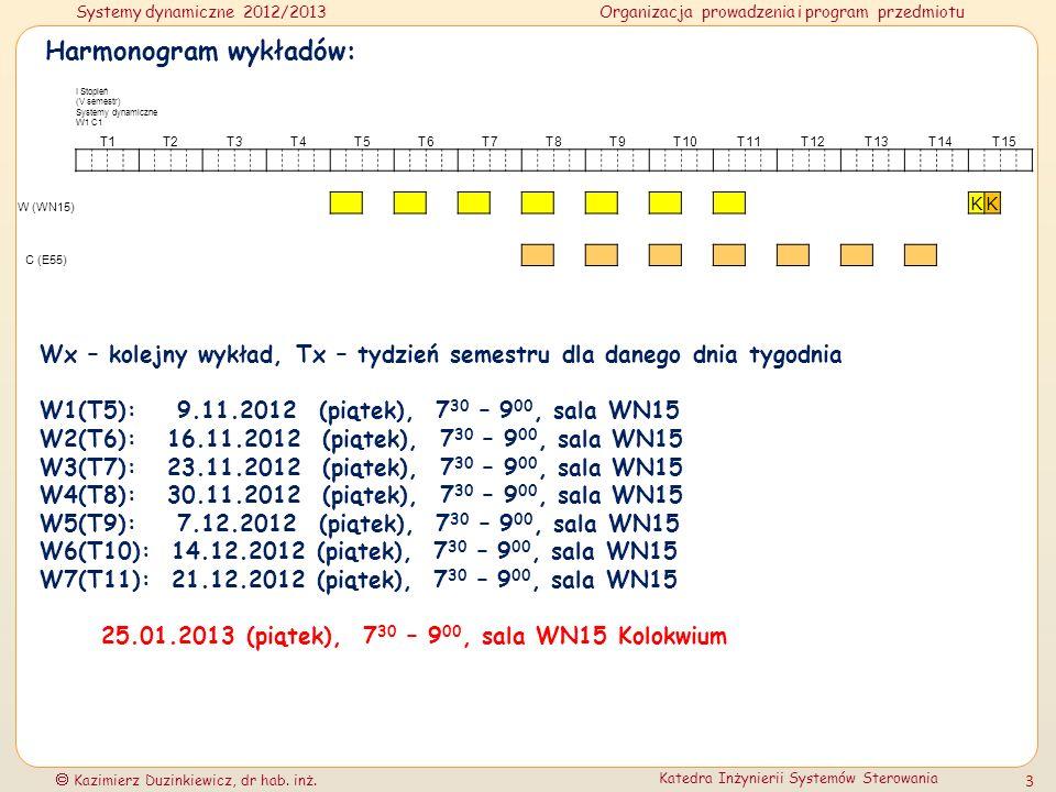 Systemy dynamiczne 2012/2013Organizacja prowadzenia i program przedmiotu Kazimierz Duzinkiewicz, dr hab. inż. Katedra Inżynierii Systemów Sterowania 3