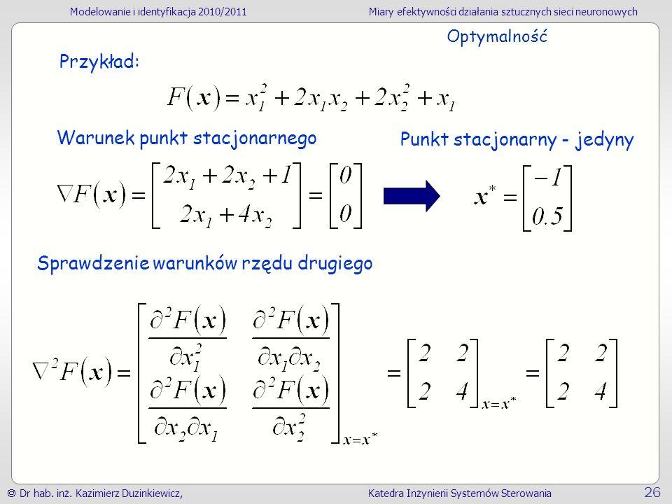 Modelowanie i identyfikacja 2010/2011Miary efektywności działania sztucznych sieci neuronowych Dr hab. inż. Kazimierz Duzinkiewicz, Katedra Inżynierii