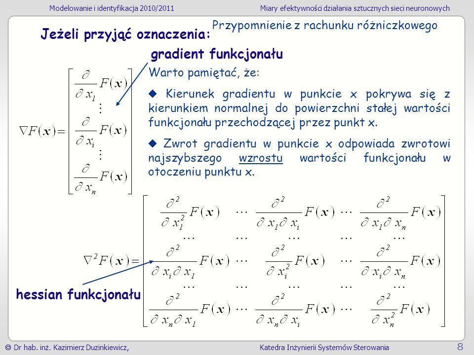 Modelowanie i identyfikacja 2010/2011Miary efektywności działania sztucznych sieci neuronowych Dr hab.